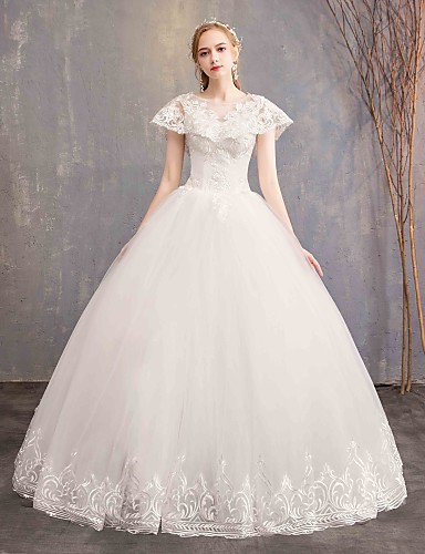 cheap Wedding Dresses-Ball Gown Jewel Neck Maxi Lace / Tulle Made-To-Measure Wedding Dresses with by LAN TING Express