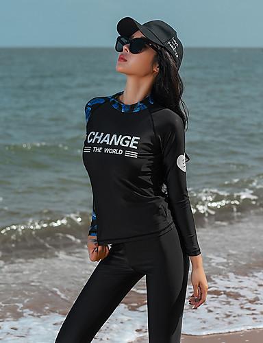 d1904e747dc1c نسائي بدلات الغطس العميق حماية من الأشعة فوق البنفسجية خفيف جدا (UL) سريع  جاف تيريليني كم طويل ملابس السباحة ملابس الشاطئ سترات للغوص لوحات سباحة غوص    قابل ...