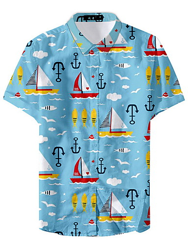 abordables Camisas de Hombre-Hombre Camisa Geométrico Azul Marino XL