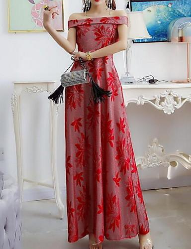 2019 Moda Per Donna Elegante Linea A Vestito Fantasia Geometrica Maxi #07302133 Numerosi In Varietà