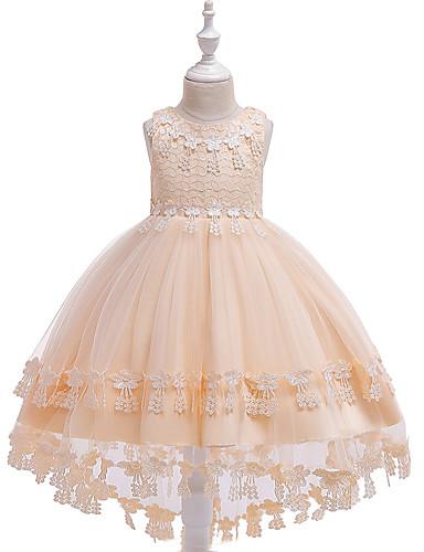Дети Девочки Активный / Милая Однотонный Вышивка Без рукавов Ассиметричное Платье Красный