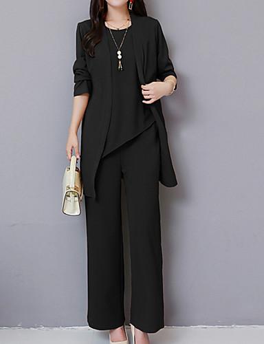 billige Todelt dress til damer-Dame Grunnleggende Store størrelser Sett Bukse Ensfarget