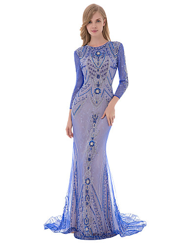cheap Designers' Originals-Mermaid / Trumpet Jewel Neck Sweep / Brush Train Tulle Dress with Beading / Sequin / Crystals by JUDY&JULIA