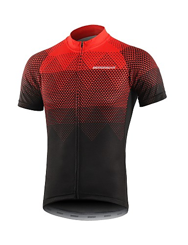 cheap Cycling Clothing-BERGRISAR Men's Short Sleeve Cycling Jersey Black / Red Black / Blue Gradient Bike Jersey Top Breathable Quick Dry Reflective Strips Sports 100% Polyester Mountain Bike MTB Road Bike Cycling Clothing
