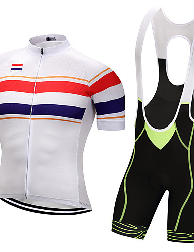 cheap Cycling Clothing-WEIMOSTAR Men's Short Sleeve Cycling Jersey with Bib Shorts - Red Green Blue Bike Clothing Suit UV Resistant Breathable Quick Dry Sports Polyester Creative Mountain Bike MTB Road Bike Cycling