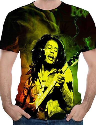 cheap Men's Tees & Tank Tops-Men's Plus Size Cotton T-shirt - 3D / Portrait Print Round Neck Black XXXXL