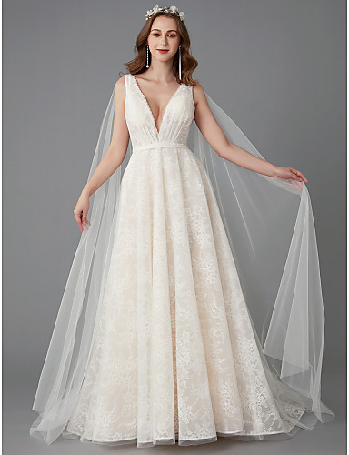 cheap Wedding Dresses-A-Line V Neck Chapel Train Lace Made-To-Measure Wedding Dresses with Lace by LAN TING BRIDE®