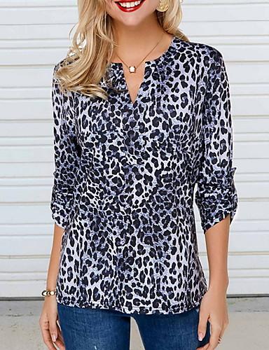 733ef4c5 billige Skjorte-Dame - Leopard Trykt mønster Skjorte Navyblå L