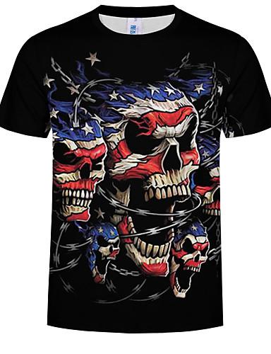 cheap 6/19-Men's Daily Basic EU / US Size T-shirt - 3D Print Round Neck Black XXXXL / Short Sleeve