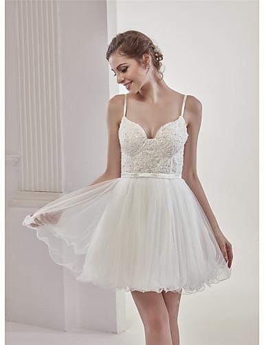 9ec3b16b6e A-vonalú Szív-alakú Rövid / mini Csipke / Tüll Made-to-measure esküvői ruhák  val vel Gyöngydíszítés / Rátétek / Csipke által ANGELAG