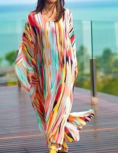 voordelige Maxi-jurken-Dames Strand Oversized Tuniek Jurk - Gestreept Maxi
