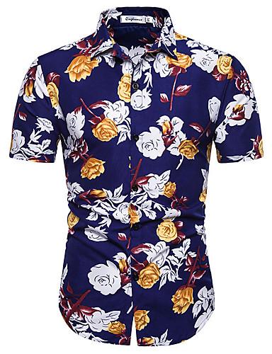 billige Overdele til herrer-Herre - Farveblok Basale Skjorte Blå XL