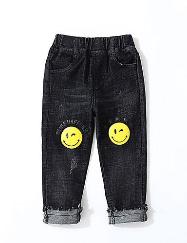 100% Vero Bambino Da Ragazzo Essenziale - Moda Città Con Stampe Strappato - Con Stampe Cotone Jeans Nero #07337197