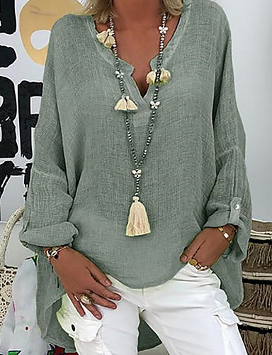 billige Topper til damer-V-hals Store størrelser Skjorte Dame - Ensfarget Grunnleggende Svart