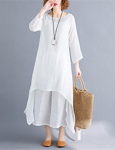 billige Kjoler-Dame Store størrelser Grunnleggende Chinoiserie Bomull Tunik Swing Kjole - Ensfarget Midi