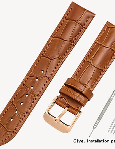 Gerçek Deri / Deri / Buzağı Tüyü Watch Band kayış için Siyah / Kahverengi 17cm / 6.69 inç / 18cm / 7 İnç / 19cm / 7.48 İnç 1.2cm / 0.47 İnç / 1.4cm / 0.55 İnç / 1.6cm / 0.6 İnç