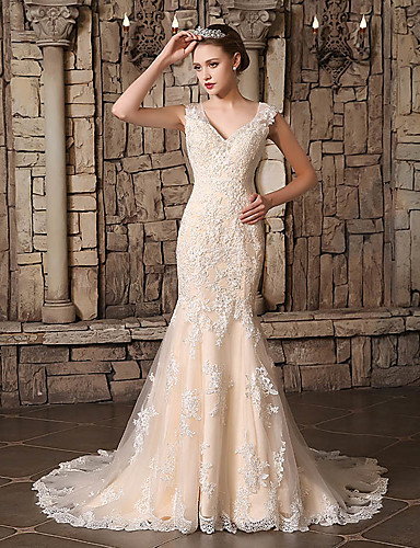 cheap Wedding Dresses-Mermaid / Trumpet V Neck Chapel Train Lace / Tulle Made-To-Measure Wedding Dresses with Beading / Appliques / Lace by JUDY&JULIA