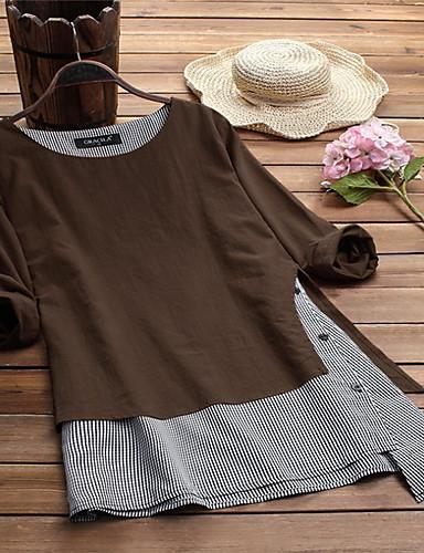 povoljno Ženske majice-Veći konfekcijski brojevi Majica s rukavima Žene Pamuk Color block Širok kroj Deva