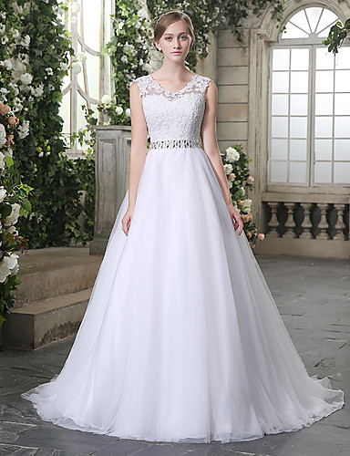 cheap Wedding Dresses-Ball Gown Jewel Neck Chapel Train Lace / Tulle Made-To-Measure Wedding Dresses with Beading / Appliques by JUDY&JULIA