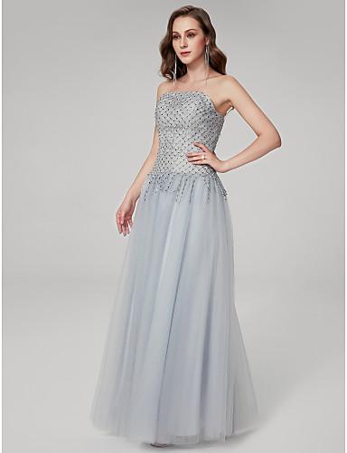 povoljno Haljine za posebne prilike-A-kroj Bez naramenica Do poda Til Formalna večer Haljina s Perlica po TS Couture®