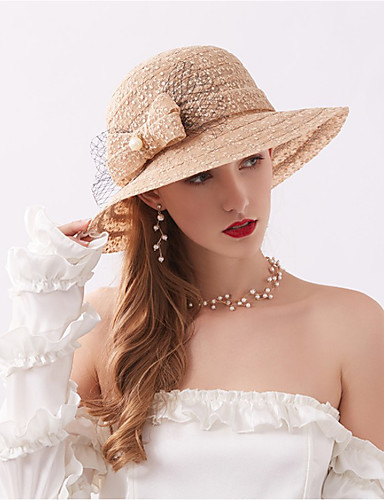 voordelige Damesaccessoires-Dames Actief Standaard leuke Style Acryl Netstof,Bloemen Floppy hoed Zonnehoed-Alle seizoenen Marineblauw Grijs Khaki