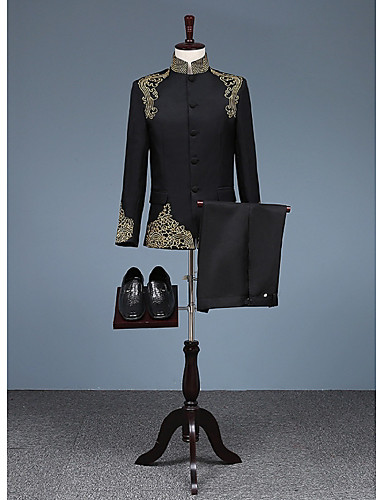 povoljno Svečana odijela-Crn Patterned Kroj po mjeri Pamuk Odijelo - Mandarin Droit à plusieurs boutons