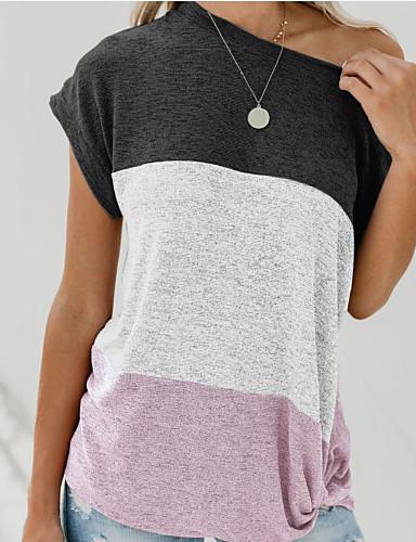 billige Topper til damer-Bomull Løse skuldre T-skjorte Dame - Fargeblokk, Lapper Svart