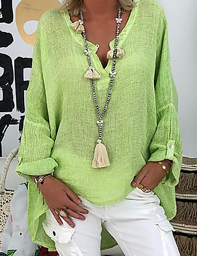 billige Dametopper-V-hals Store størrelser Skjorte Dame - Ensfarget Grunnleggende Svart