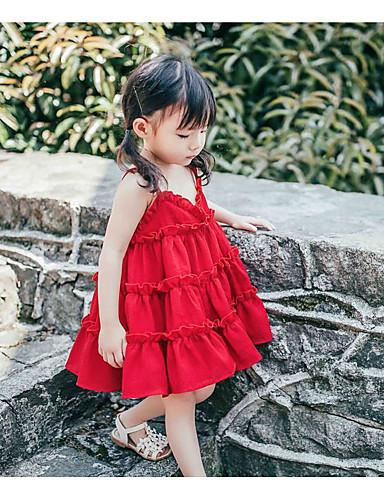 Bébé Fille Actif / Doux Couleur Pleine Sans Manches Au dessus du genou Coton Robe Rouge