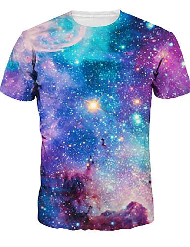 voordelige Herenbovenkleding-Heren Print T-shirt Heelal / 3D / Grafisch Regenboog