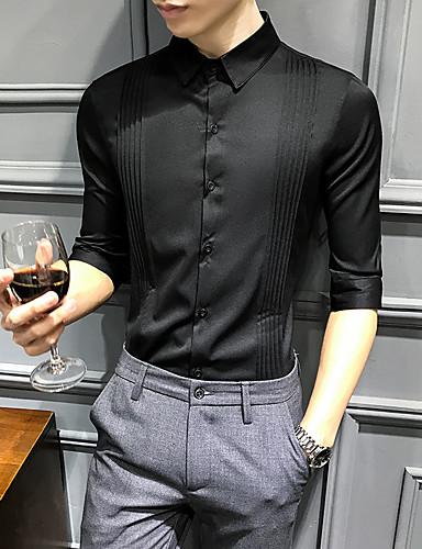 250e1ef191211 رخيصةأون قمصان رجالي-رجالي قميص أساسي لون سادة أبيض XL