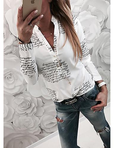 baratos Blusas Femininas-Mulheres Camisa Social Básico Letra Colarinho de Camisa Delgado Branco / Primavera / Outono