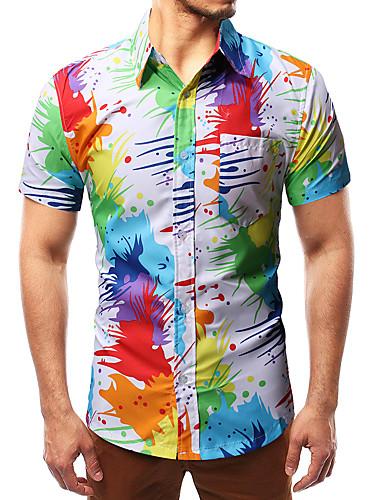 voordelige Herenoverhemden-Heren Overhemd Geometrisch Opstaande boord Regenboog / Korte mouw