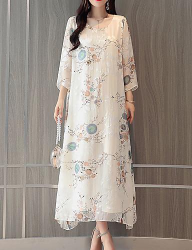 abordables Robes Femme-Femme Fleur Elégant Midi Ample Trapèze Robe - Imprimé, Fleur Blanc XL XXL XXXL Soie Demi Manches