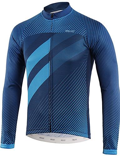 hesapli Bisiklet Formaları-Arsuxeo Erkek Uzun Kollu Bisiklet Forması Navy Mavi Bisiklet Üstler Geri Pocket Pochłanianie potu Spor Dalları polyester Dağ Bisikletçiliği Yol Bisikletçiliği Giyim / triatlon / Çok Panelli Yapım