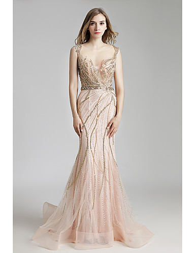 f0f290483e7 Mermaid / Trumpet Jewel Neck Floor Length Tulle / Sequined Sparkle & Shine  / See Through Prom / Formal Evening Dress with Beading / Tier by JUDY&JULIA