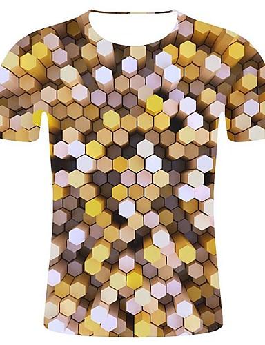 billige T-shirts og undertrøjer til herrer-Rund hals Herre - Geometrisk / 3D / Grafisk Bomuld, Trykt mønster Erklæring / Art Deco / Retro Plusstørrelser T-shirt Gul XXL