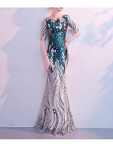 abordables Robes de Fête-Trompette / Sirène Bijoux Longueur Sol Pailleté Robe avec Paillette par LAN TING Express