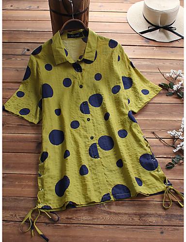 abordables Camisas y Camisetas para Mujer-Mujer Remache / Acordonado / Retazos Camisa A Lunares Marrón XXXL