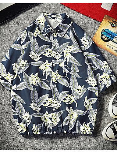 abordables Ropa de Hombre-Hombre Tallas Grandes Camisa Geométrico Blanco XXXL