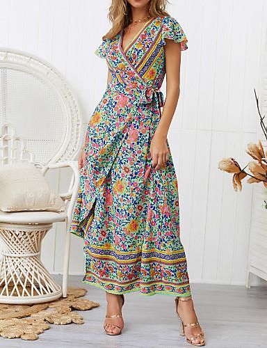 voordelige Maxi-jurken-Dames Boho Elegant A-lijn Wijd uitlopend Jurk - Bloemen Geometrisch Kleurenblok, Ruche Print Maxi