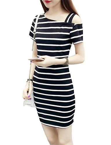 billige Kjoler-Dame Bohem T skjorte Kjole - Stripet, Lapper Asymmetrisk