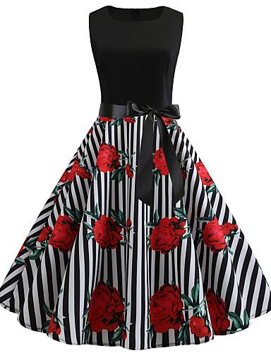 bdd2821be6828 Women's Vintage Street chic Swing Trumpet / Mermaid Skater Dress - Floral  Geometric Check Lace up Patchwork Print Black L XL XXL