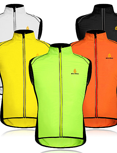 cheap Cycling Vest-WOSAWE Men's Sleeveless Cycling Vest Orange Green Black / Yellow Bike Vest / Gilet Windproof Breathable Reflective Strips Back Pocket Sports Mesh Patchwork Mountain Bike MTB Road Bike Cycling
