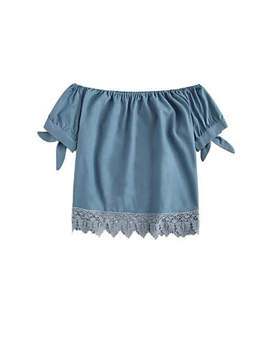 abordables Camisas y Camisetas para Mujer-Mujer Boho / Chic de Calle Retazos / Ajuste de encaje Camisa Un Color Azul Piscina XXL