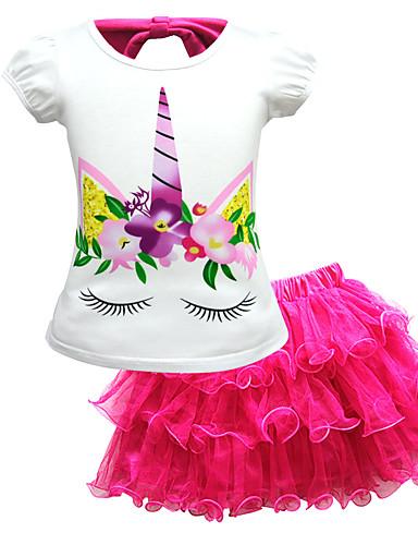 Παιδιά Νήπιο Κοριτσίστικα Ενεργό Κομψό στυλ street Στάμπα Δαντέλα Κοντομάνικο Κανονικό Κανονικό Βαμβάκι Πολυεστέρας Σετ Ρούχων Ανθισμένο Ροζ