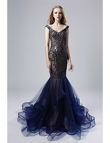 43b66776bf12b Mermaid / Trumpet Plunging Neck Court Train Sequined Sparkle & Shine Formal  Evening Dress with Sequin