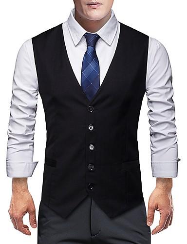 voordelige Herenblazers & kostuums-Heren Vest Sjaalrevers Polyester Zwart / Grijs