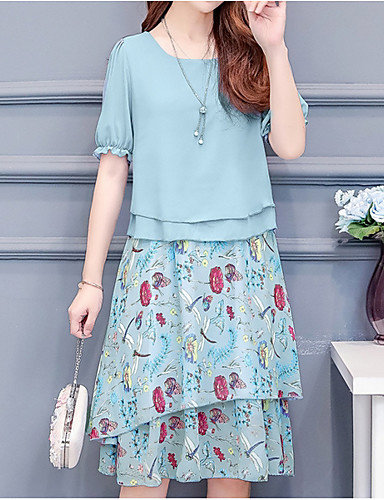 cheap 5/23-Women's Basic Shift Dress - Geometric Blushing Pink Light Blue XXXL XXXXL XXXXXL
