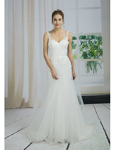 cheap Wedding Dresses-A-Line V Neck Court Train Lace / Tulle / Sequined Made-To-Measure Wedding Dresses with Appliques / Side-Draped by ANGELAG